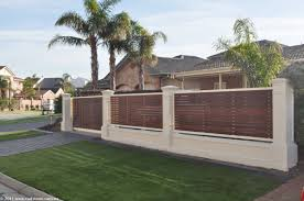 front yard fence ideas timber slats as infill to provide