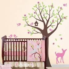Tree Wall Decal For Nursery Tree With Birds And Fawn Decal Set Nursery Room Wall Decal