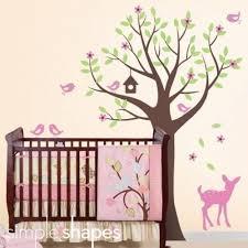 Nursery Room Tree Wall Decals Tree With Birds And Fawn Decal Set Nursery Room Wall Decal