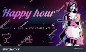 blue martini waitress waitress trayhappy hour flyer bar nightclub stock vector 636998899