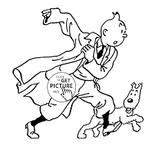 tintin with dog snowy coloring pages for kids printable free