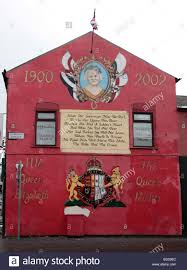 loyalist mural of union flag in belfast northern ireland ulster mural to commemorate queen elizabeth the queen mother in the loyalist shankill area of west belfast