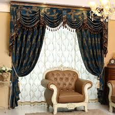 Curtains And Valances Luxury Chenille Jacquard Blue Curtains Valances And Tulles