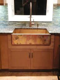 Kitchen Sink Cabinets Decorating Square White Apron Sink Plus Faucet On Brown Wooden