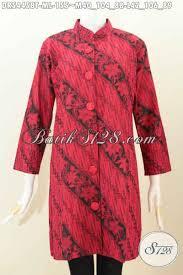 desain baju batik halus jual baju batik monokrom warna merah hitam dress batik halus model