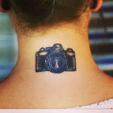 cool small camera tattoo on back neck tattooshunt com