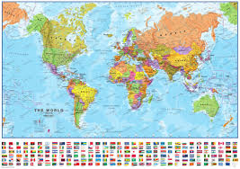 Usa Wall Map by Political World Map With Flags 1 40 Mio Political World Maps