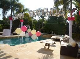 Home Decoration Birthday Party Birthday Balloon Arch Over A Swimming Pool Backyard Party