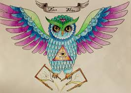 flies sugar skull owl design by imjustlesley on