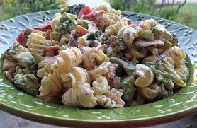 blt pasta salad with cucumber broccoli and avocado