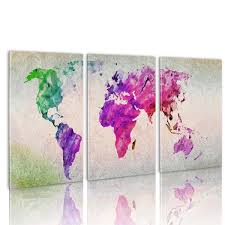 Large World Map Canvas by