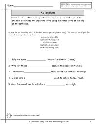 adjectives worksheets from the teacher u0027s guide