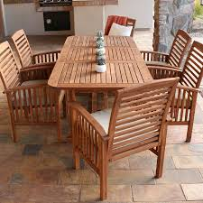 Patio Chairs With Cushions Amazon Com Walker Edison Solid Acacia Wood 7 Piece Patio Dining