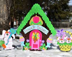 Easter Egg Yard Decorations by 3 Large Easter Egg Yard Stakes Wood Painted Easter Egg Yard