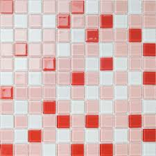 Sticker For Tiles Kitchen - red white mix mosaic brick crystal glass tile bathroom wall