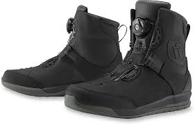motorcycle riding sneakers mens icon black mid calf leather patrol 2 motorcycle riding street
