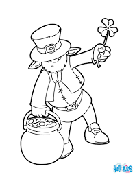 leprechaun and pot o gold cauldron coloring pages hellokids com