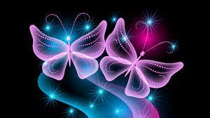 glitter wallpaper with butterflies butterflies neon light abstract black background wallpaper free