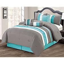 aqua ruffle comforter com modern 7 piece queen bedding aqua blue black grey