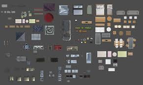 2d furniture floorplan top view psd 3d model render realistic 3d