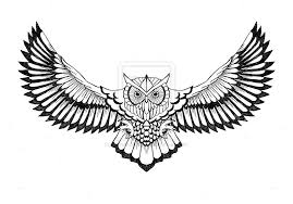 Patterned Flying Owl Drawing Illustration Flying Owl Suitable For Chest And Back Area The Flying