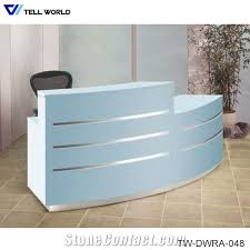 Acrylic Reception Desk Artificial Marble Stone Office Furniture Led Curved White