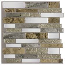 shop diy peel and stick backsplashes at lowes com peel stick mosaics peel and stick mountain terrain linear mosaic composite wall tile common 10