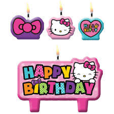 kitty rainbow birthday candles 4pc cake cupcake toppers