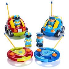 for kids police vs car amazon com prextex pack of 2 cartoon r c police car and race car