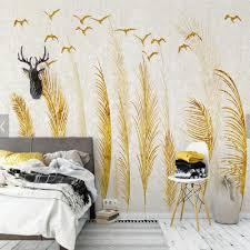 bird wallpaper home decor european design reed bent bird gold landscape photo wall mural for