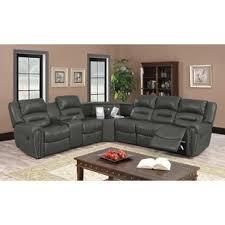 Gray Leather Sectional Sofas Grey Leather Sectional Sofas You Ll Wayfair