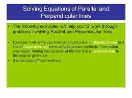 1 solving equations of parallel and perpendicular lines