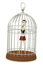 uccelli in gabbia ragazza fumetto in gabbia per uccelli illustrazione di stock