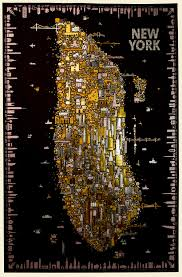 A Map Of New York City by A Stunning Gold Foil Rendering Of New York Icons Inspired By Klimt