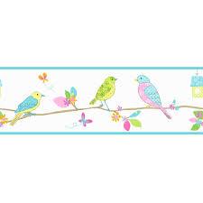 Decorative Wallpaper Borders Fine Decor Pretty Birds Hoopla Wallpaper Border White Blue