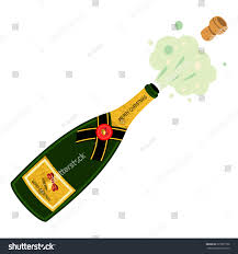 champagne cartoon champagne bottle explosion vector cartoon illustration stock