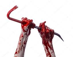 halloween theme on white background bloody hands with a crowbar hand hook halloween theme killer
