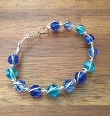 beaded wire bracelet images Shades of blue crystal beaded wire wrapped bracelet bangle jpg