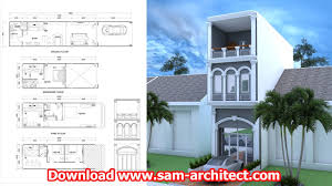 narrow house design 4 bedrooms sketchup and autocad plan size 4