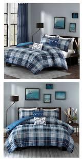 Masculine Bedding Classic Blue Plaid Teen Boy Bedding Twin Xl Full Queen Masculine