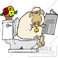 Bathroom Clipart Sheep Using A Toilet Clipart 12481 By Djart Royalty Free