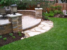 Cheap Backyard Patio Ideas Backyard Unilock Patio Seat Walls Pillars Flagstone Landing