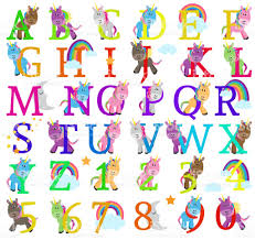 themed letters vector collection of unicorn themed alphabet letters stock