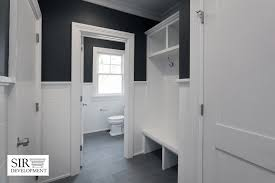 Bench Built Into Wall Grey Mudroom Ideas Transitional Laundry Room Sir Development