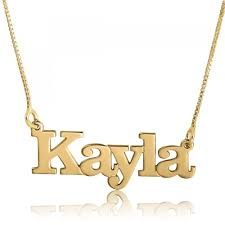 gold name plate necklace 14k gold name necklace print name plate namefactory