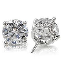 cubic zirconia stud earrings martini 3 prong cubic zirconia stud earrings in 14k a new