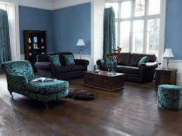 White Laminate Wood Flooring Blue And Brown Living Room Decor Black Faux Leather Arms Sofa