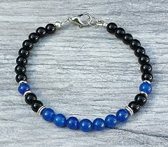 beading bracelet clasps images Blue jade and black onyx beaded lobster clasp bead jpg
