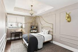Gold Canopy Bed Gold Canopy Bed With Black And White Bedding Contemporary