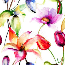 Lilly Flowers Watercolor Painting Of Tulips And Lily Flowers Stock Photos